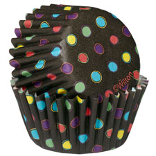 100 Baking Cups- Black with Neon