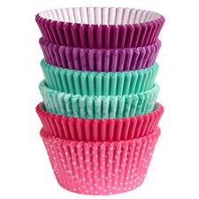 150 baking cups pink turq ppl