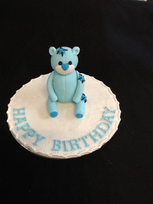 Fabulous Happy Birthday Cake Topper Blue Teddy Bear One Stop Cake Funny Birthday Cards Online Drosicarndamsfinfo
